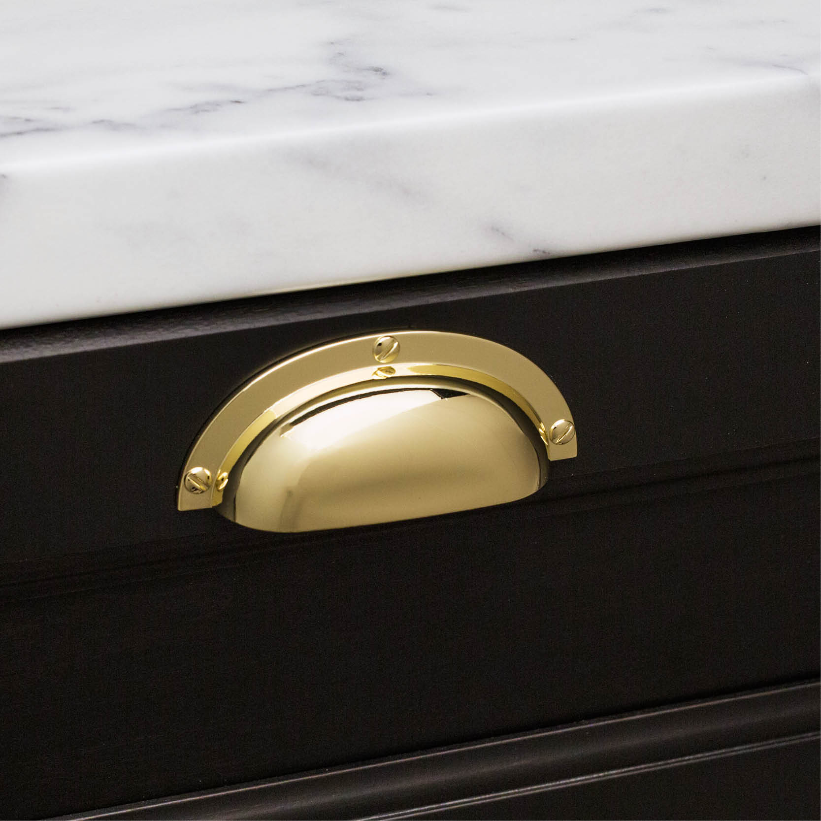 Classic Black Panel with Traditional D369 Polished Brass Shell Handle