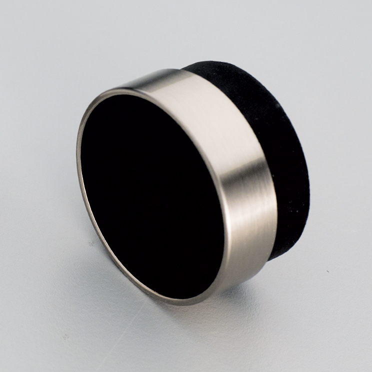 L4346 Timber Radio Knob Black with Stainless Steel Effect ring
