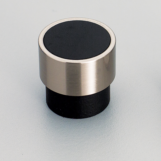 L4370 Timber Black Radio Knob with Stainless Steel Effect ring