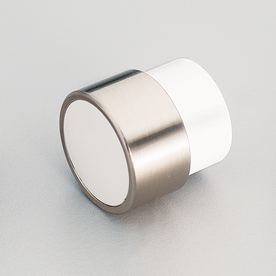 L4370 White Timber Radio Knob & Stainless Steel Effect ring