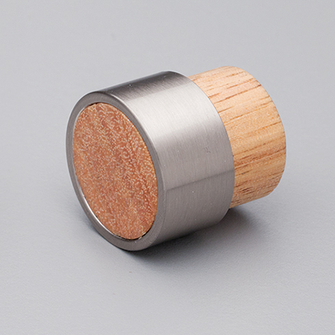 L4370 Oak Timber Radio Knob with Stainless Steel Effect ring