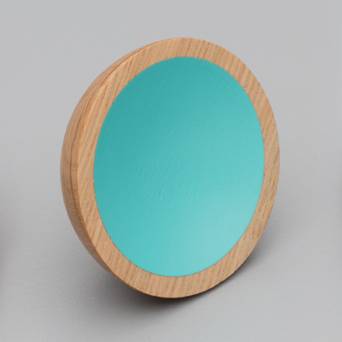 L4406 Wok Knob Oak & Turquoise Timber