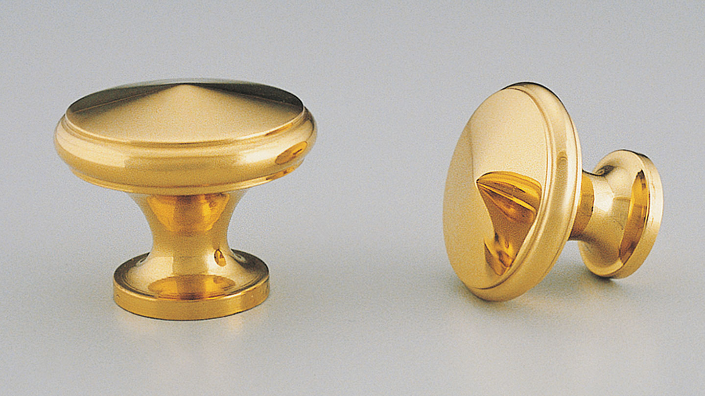 BK31_DIMPLE_BRASS DIMPLE round knob shallow conical top : Kethy