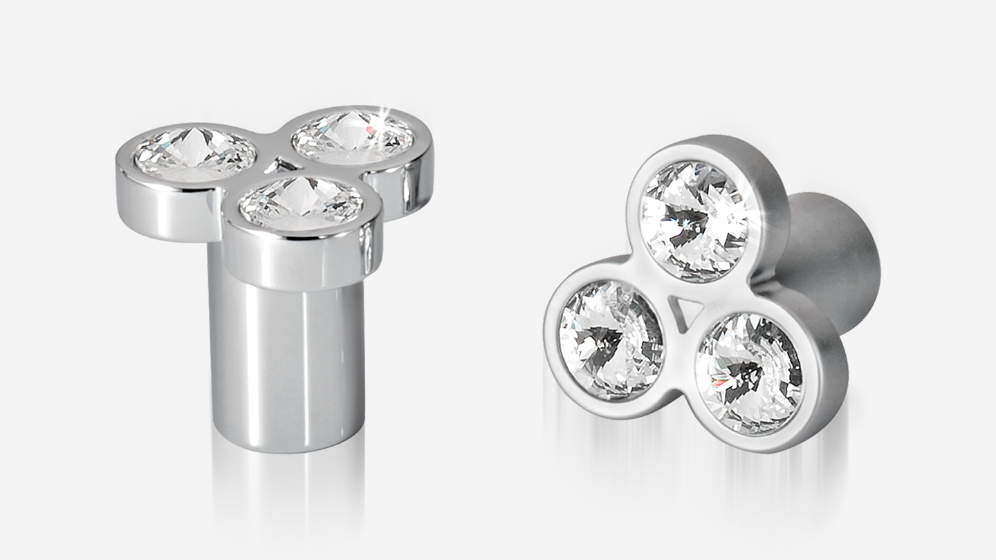 BL1202 cluster knob 3 crystal for bedroom,furniture colours Polished Chrome (PC),Satin Chrome (SAT) mm, size overall 32 mm