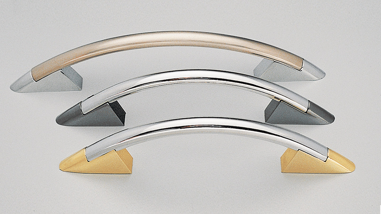 D235 narrow bow handle for kitchen,bathroom,bedroom,furniture colours BRUSHED NICKEL,Brushed Nickel Bar/Brushed Nickel Feet (BRNBRN),Brushed Nickel Bar/Gold Feet (BRNGO),Brushed Nickel Bar/Gunmetal Feet (BRNGM),Brushed Nickel Bar/Polished Chrome Feet (BRNPC),GUNMETAL,POLISHED CHROME,Polished Chrome Bar/Brushed Nickel Feet (PCBRN),Polished Chrome Bar/Gold Feet (PCGO),Polished Chrome Bar/Gunmetal Feet (PCGM),Polished Chrome Bar/Polished Chrome Feet (PCPC) mm, size overall 140,173, mm hole centre distance 96,128,96BAR mm