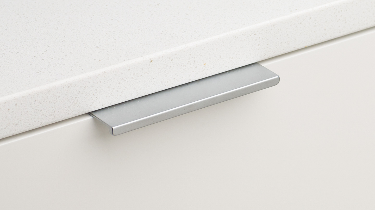DL408 straight flat edge pull / lip pull for kitchen,bedroom,furniture colours Matt Nickel (MN),Satin Chrome (SAT) mm, size overall 32,96,160 mm hole centre distance 16,64,64 / 128 mm