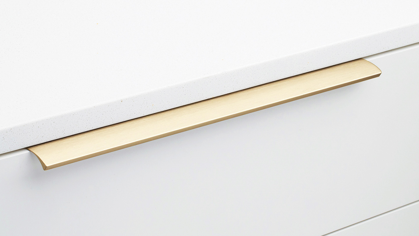 DL419_BRASS designer curved lip pull for Kitchen handle, cabinet handle, bathroom handle, kitchen hardware. colours Brushed Brass Anodised (BB),Brushed Inox Anodised (INOX) mm, size overall 40,100,200,350 mm hole centre distance 20,60,160,320 mm