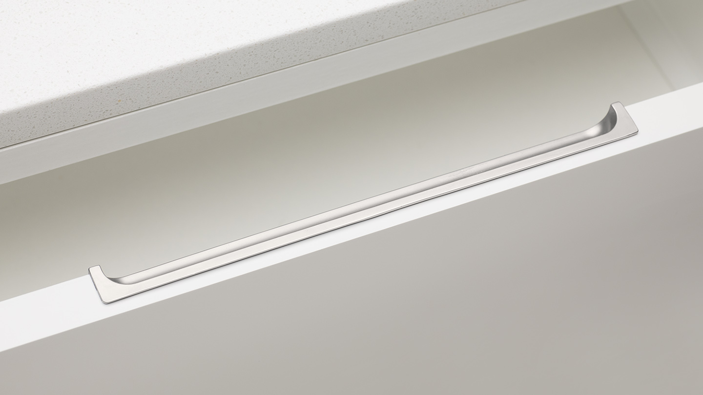 DL918 recessed back edge pull for kitchen,bedroom,furniture colours Matt Nickel (MN) mm, size overall 200 mm hole centre distance 64 / 128 mm