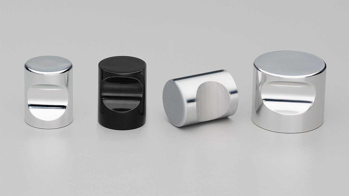 F402_BK CYLINDER round knob indented finger grip : Kethy