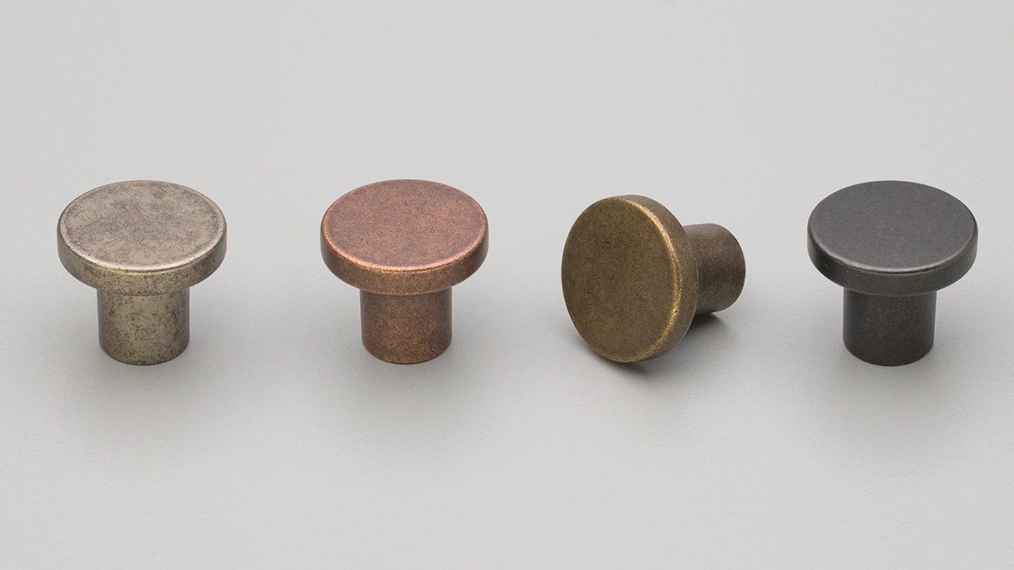 HT019 Hampton / Shaker plain round knob flat for kitchen,bathroom,bedroom,furniture colours Antique Brass Matt (ABM),Copper Blush Matt (CBM),Charcoal Matt (CHM),Oxidised Tin Matt (OTM) mm, size overall 33 mm