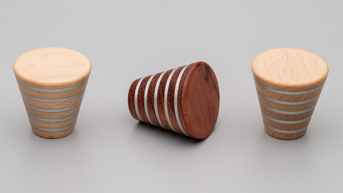 L4316 timber cone knob with metal inlay for kitchen,bedroom,furniture colours Beech (BE),Jarrah (JR) mm, size overall 30 mm