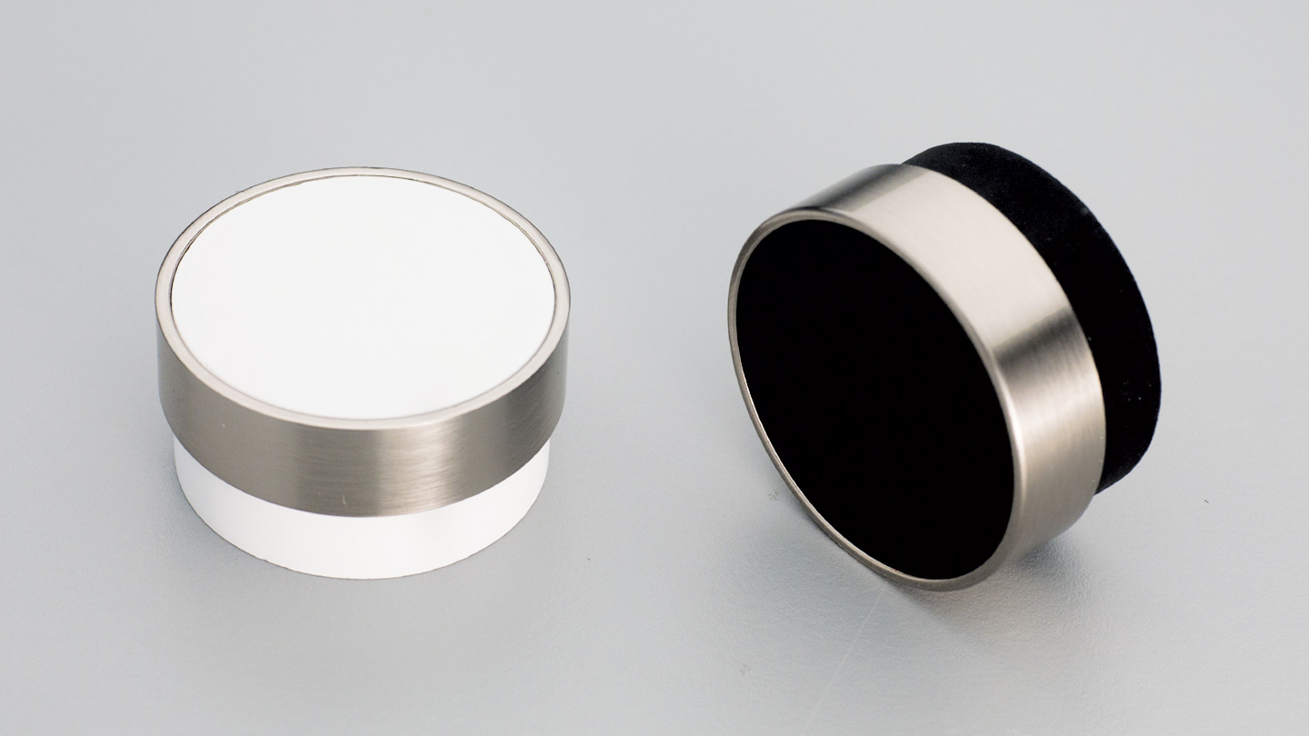 L4346 timber cylinder knob 48mm with metal ring for kitchen,bedroom,furniture colours Black Painted with Stainless Effect Ring (BKSE),White Painted with Stainless Effect Ring (WT) mm, size overall 48 mm