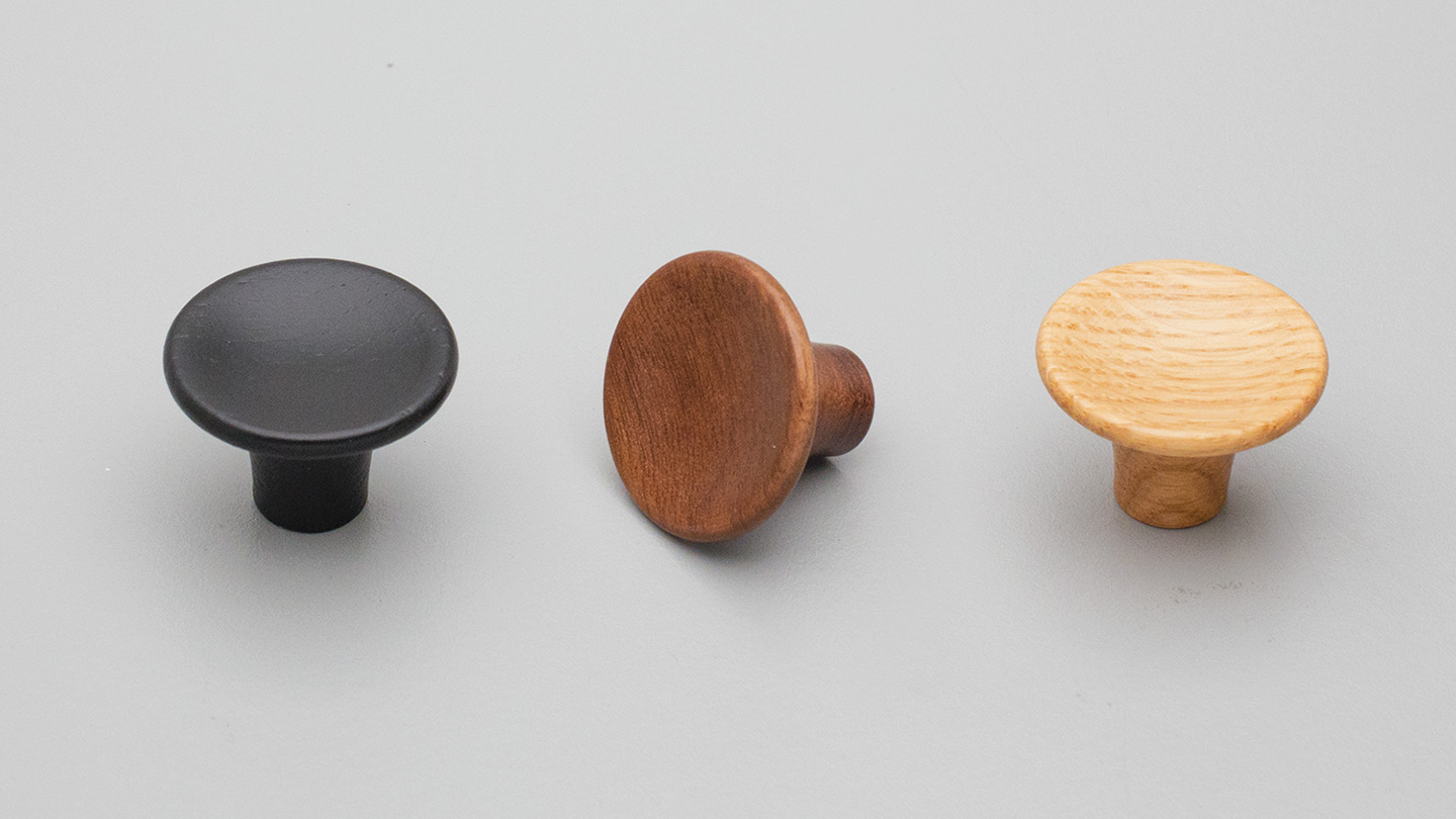 L4467 timber knob for Kitchen handle, cabinet handle, bathroom handle, kitchen hardware. colours Matt Black (MBK),Oak (OAK),Walnut (WN) mm,