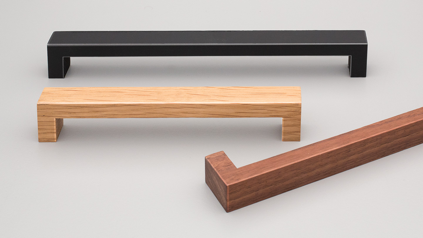 L7480 timber D handle 20mm rectangular section for Kitchen handle, cabinet handle, bathroom handle, kitchen hardware. colours Matt Black (MBK),Oak (OAK),Walnut (WN) mm, size overall 140,172 mm hole centre distance 128,160 mm