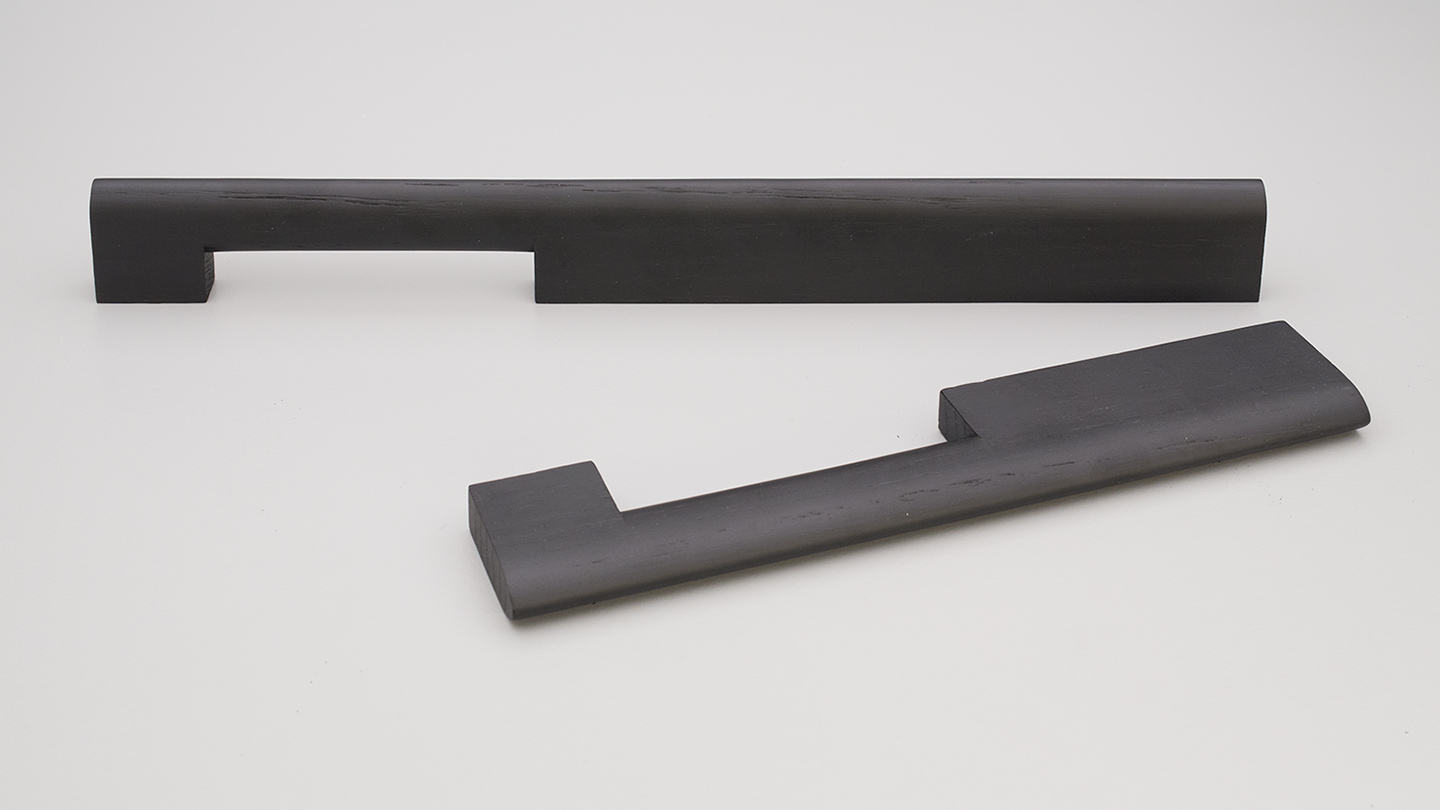 L7806 timber D handle offset grip one foot wider for Kitchen handle, cabinet handle, bathroom handle, kitchen hardware. colours Matt Black (MBK),Oak (OAK),Walnut (WN) mm, size overall 220,320 mm hole centre distance 192,288 mm