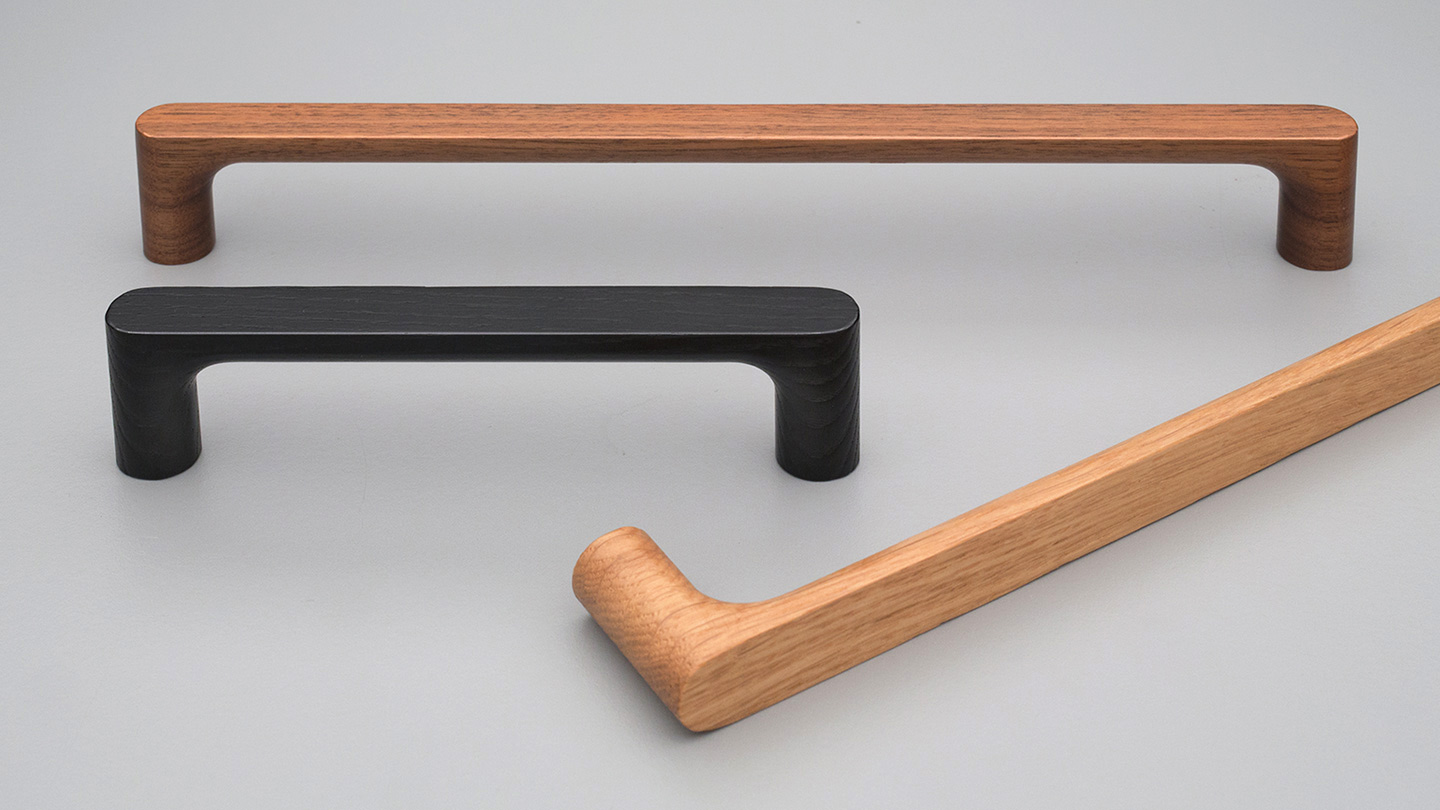 L7864 timber D handle 16mm WIDE for Kitchen handle, cabinet handle, bathroom handle, kitchen hardware. colours Matt Black (MBK),Oak (OAK),Walnut (WN) mm, size overall 140,172 mm hole centre distance 128,160 mm