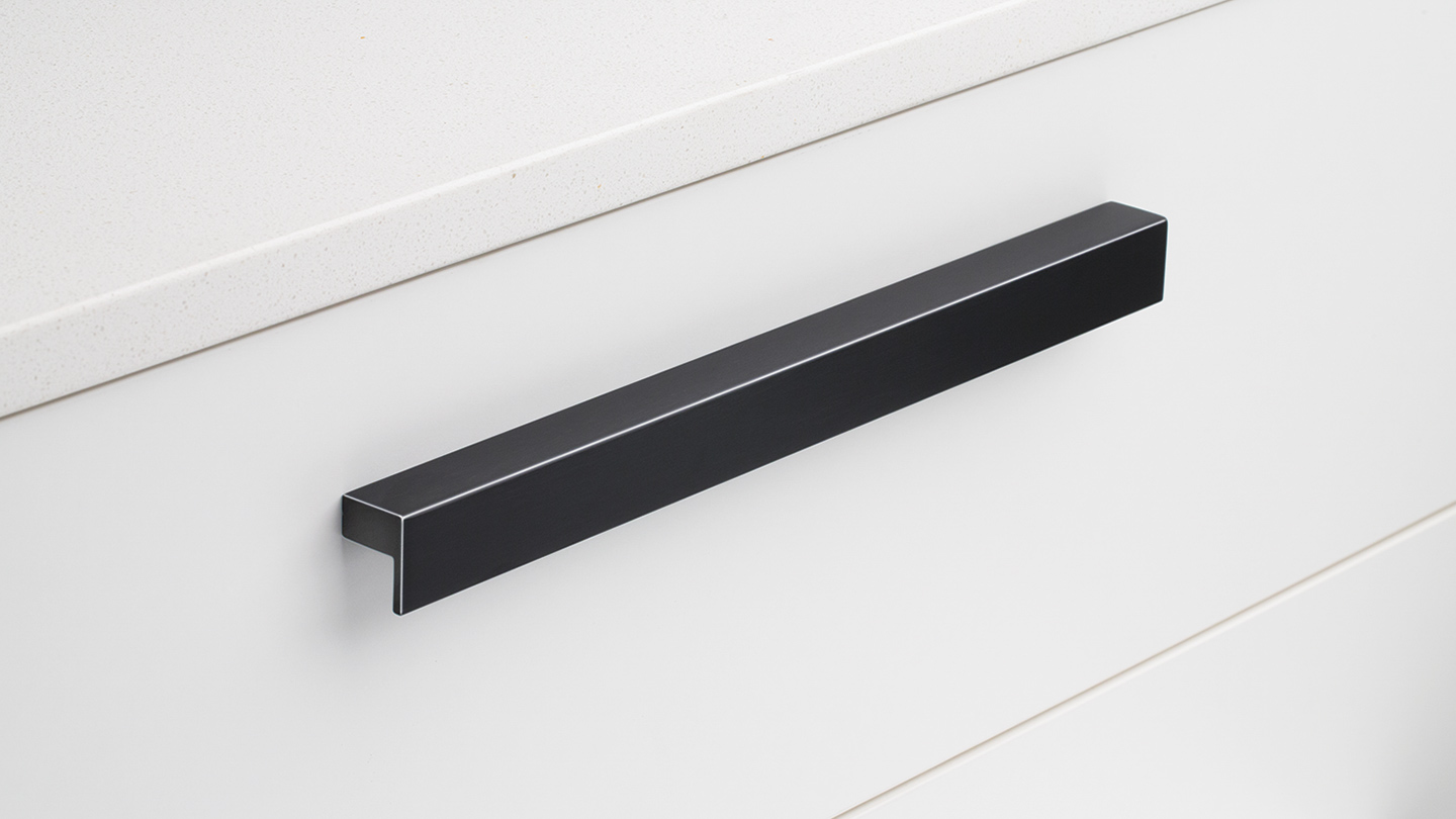 S225_BK hook handle square section rounded for kitchen,bathroom,bedroom,furniture colours Inox (INX),Matt Black Anodised (MBK) mm, size overall 44,75,107,112,204,300,600,900 mm hole centre distance 32,64,96,128,192,280,480,780 mm