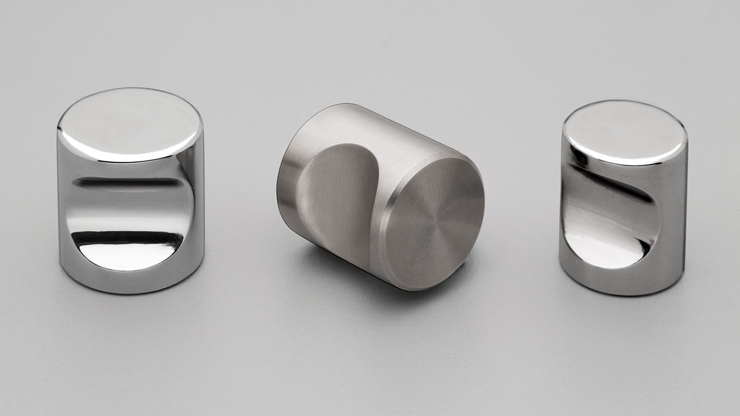 S310  stainless cylinder knob with indented finger grip : Kethy