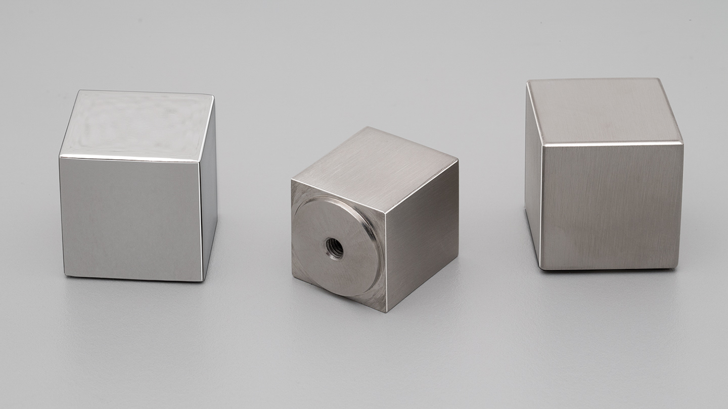 S320 stainless cube knob with low base for kitchen,bathroom,bedroom,furniture colours Polished Stainless (PS),Satin Stainless (SS) mm, size overall 20,25 mm hole centre distance 0,0 mm