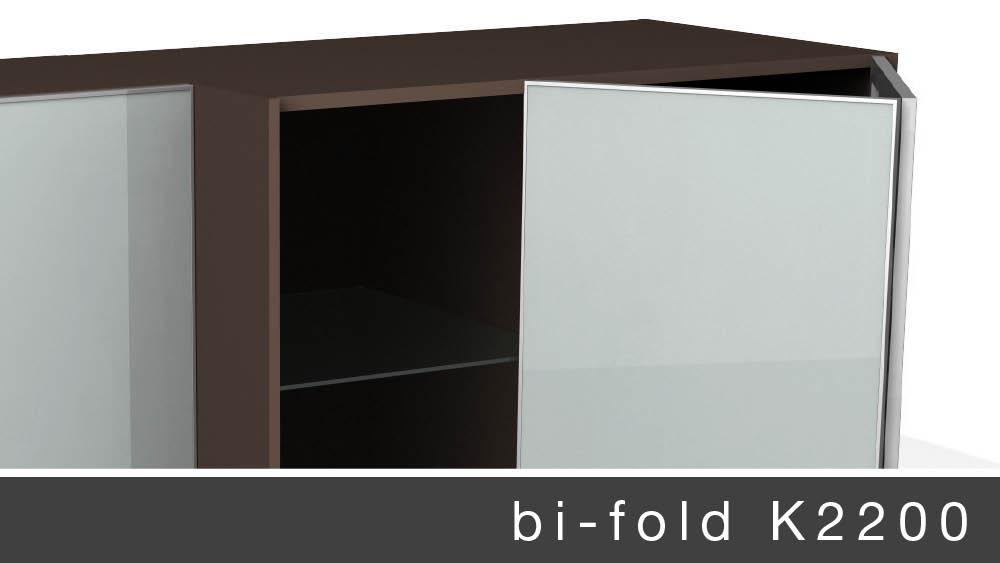 K2200 bi-fold sliding door system for pantries,cabinets,wardrobes